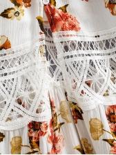 V Neck Print Casual Maxi Dress
