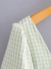 Casual Plaid Ruffle Short Sleeve Dress