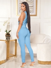 Sexy Solid Hollow Out Sleeveless Ladies Jumpsuits