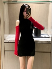 Trendy Contrast Color Women Bodycon Dress Online