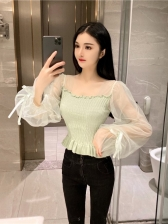 Sweet Solid Puff Sleeve Blouses For Ladies