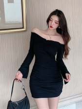 Trendy Ruched Off Shoulder Women Bodycon Dress
