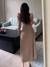 Elegant Drawstring Solid Long Sleeve Maxi Dress