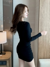 Chic Pure Color Ruched Bodycon Dress Women
