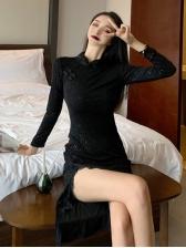 Vintage Lace Edges Slit Dresses For Ladies