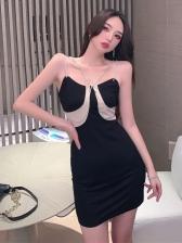Sexy Glitter Chain Bodycon Camisole Dress Women