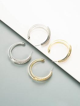 Simple C-Shape Design Rhinestone Earrings Women