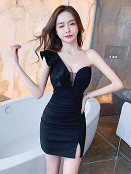 One Shoulder Ruffled Ladies Bodycon Dress