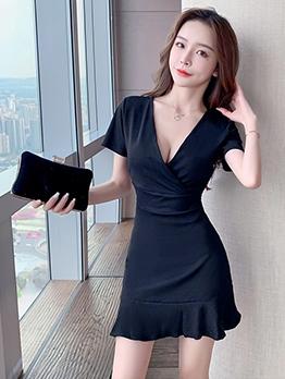 Summer Contrast Color V Neck Short Sleeve Dress