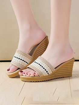 Round Toe Patchwork Slipper Wedges For Women