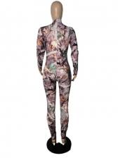 Mock Neck Printed Long Sleeve Jumpsuit