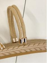 Roman Style Plaid Upper Flat Sandals For Women