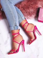 Fashion Round Toe Lace-Up Heel Sandal
