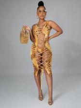 Lace-Up Animal Printed Bikini Three Dress Set