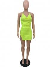 Solid Sexy Nightclub Sleeveless Halter Short Dress