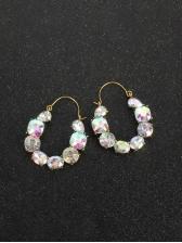 Geometry Colourful Rhinestone Personality Earrings