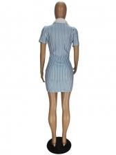 Casual Striped V Neck Short Sleeve Dress