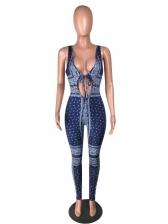 Sexy Lace Up Register Print Jumpsuit