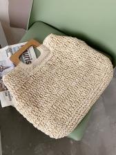 Spring Solid Straw Weaving Handbags