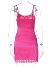 Lace Sexy Solid Sleeveless Mini Dress