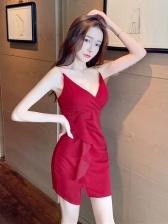 New Arrival V Neck Ruffled Camisole Dress