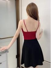 Fashionable Contrast Color Women Camisole dress