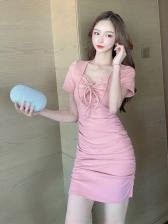Chic V Neck Ruched Ladies Bodycon Dress