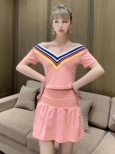 Fashionable High Waist Solid 2 Piece Dress Set