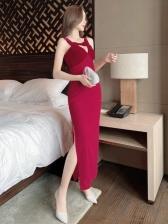 Pure Hollow Out Color Elegant Evening Dresses