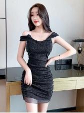 Sexy Backless Glitter Chain Bodycon Women Dress