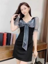 Vintage Patchwork Puff Sleeve Ladies Dress