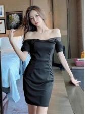 Chic Patchwork Pure Color Women Bodycon Dress