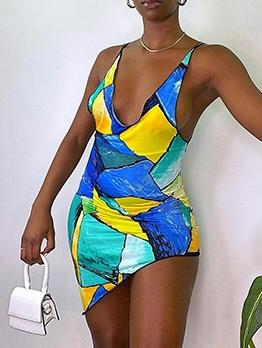 Characteristic Print Asymmetrical Hem Sleeveless Summer Dresses