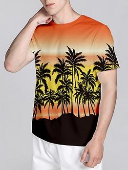 New Coconut Tree Print T Shirt