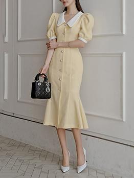 Casual Sweet Puff Sleeve Midi Dress For Summer