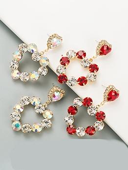 Fashion Heart Rhinestone Trendy Women Earrings