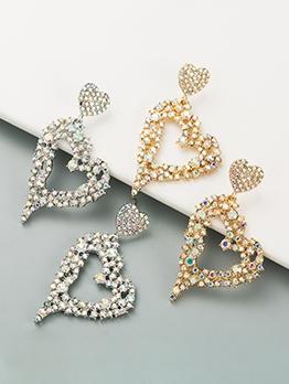 Fashion Design Geometry Heart Rhinestone Earrings