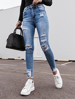 Street Wear Ripped Jeans For Women