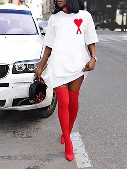Casual Heart Letter Short Sleeve T Shirt Dress
