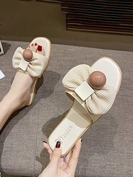 Fashion Bow Round Toe Female Slipper