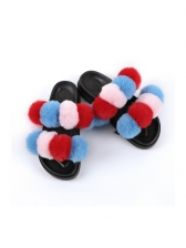 Color Block Pom Pom Fluffy Home Slippers