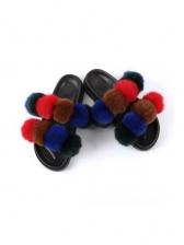 Round Toe Pom Pom Fluffy Womens Slippers