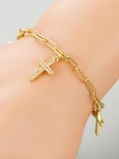 Stylish Zircon Cross Pendant Bracelet Women
