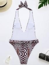 Latest Geometry Print Halter One Pieces Swimsuit