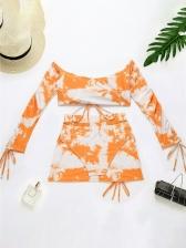 Tie Dye Print Fashion V Neck Tank Bikini Sets