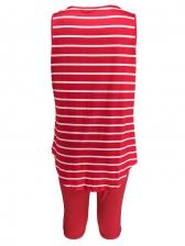 U Neck Sleeveless Striped Summer Set For Women