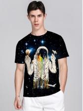 Popular Short Sleeve Astronaut Print T Shirt