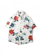 Vacation Rose Print Short Sleeve Shirts