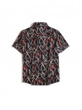 Popular Turndown Collar Print Button Up Shirts