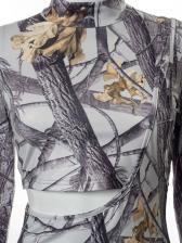Print Cropped Top Two Piece Pants Set
